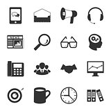 Marketing black and white flat icons set