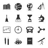 School black and white flat icons set