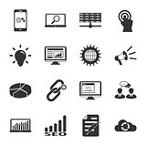 Search engine optimization black and white flat icons set