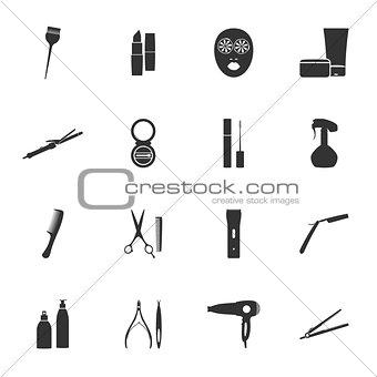 Beauty salon silhouettes flat icons set