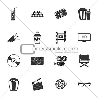 Cinema black and white flat icons set