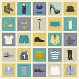 Clothing and shoes flat icons set