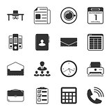 Office black and white flat icons set