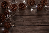 Pine cones and garland background