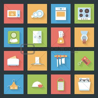 Kitchen flat icons set