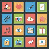 Socia media web flat icons set