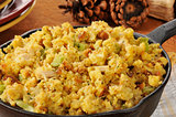 Cornbread stuffing in a cast iron skillet