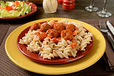 Meatballs and marinara sauce on gluten free pasta
