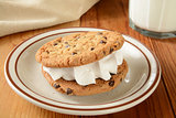 Cookie sandwich and milk