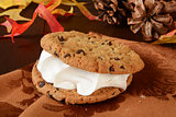Chocolate chip cookie sandwich with butterscotch cream