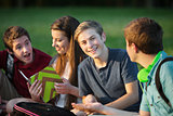 Male Teen Studying with Friends