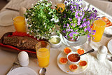 Festive continental breakfast with red caviar, soft-boiled egg a