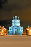 St. Nicholas Cathedral in Saint-Petersburg at night.