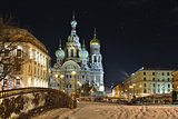 Night winter Church Savior on Blood in St-Petersburg