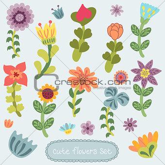 Cute vintage hand drawn flowers set