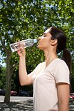 woman profile drinking water