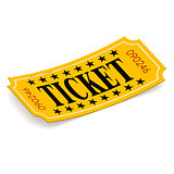 Ticket on white background
