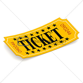 Ticket on white background