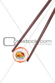 California maki sushi and chopsticks.