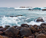 Rocky coastline and ocean waves