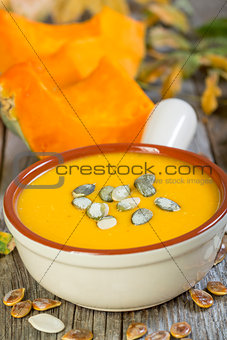 Bowl of pumpkin soup.