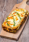 Lasagna on the wooden board