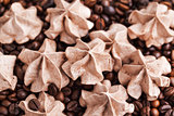 Chocolate meringues on coffee beans