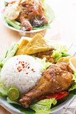 Malaysian food nasi ayam penyet