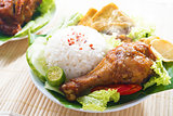 Malay food nasi ayam penyet