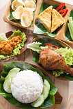 Asian food nasi ayam penyet