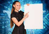 Beautiful businesswoman in dress holding empty paper sheet. World map with figures as backdrop