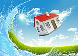 House is falling from the sky. Nature landscape with water on background