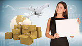 Businesswoman hold paper sheet. Earth with heap brown cardboard boxes and flying airplane are located next