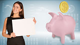 Businesswoman hold paper sheet. Pink piggy bank with gold coin are located next