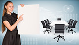 Businesswoman hold paper sheet. Big conference table with chairs are located next