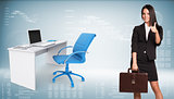 Businesswoman showing thumb-up. Office table with chair and laptop are located next