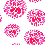 Seamless pattern with red watercolor flowers