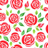 Seamless pattern with red watercolor rose