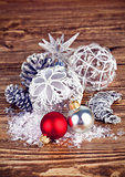 Christmas balls with tinsel and snow