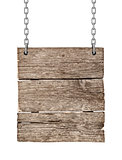 Wood sign from a chain on an isolated white background