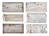 collection of various empty wooden sign on white background. eac