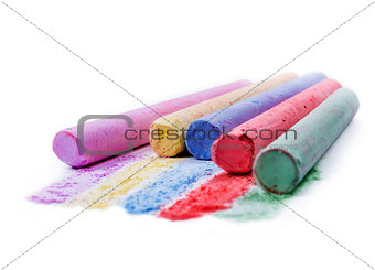 Chalks on white background