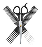 professional hairdresser scissors and two combs