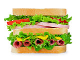 fresh sandwich with salami, cheese, tomato, lettuce on white iso