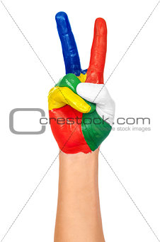painted hand showing peace gesture