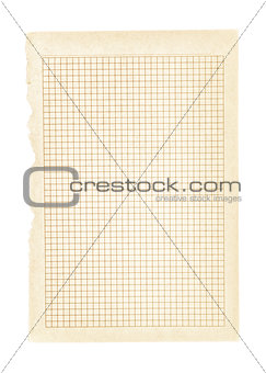 One sheet of lined paper torn .isolated ,Clipping path