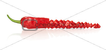 Sliced red hot chilli pepper with reflection on isolated white b