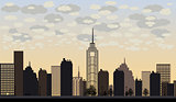 Vector illustration of big city and skyscrapers with clouds