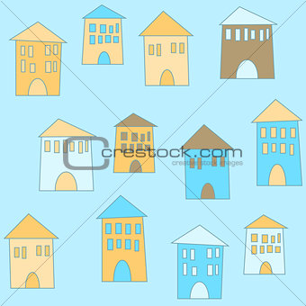 Flat cute houses in vintage style