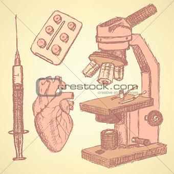 Sketch medical set in vintage style